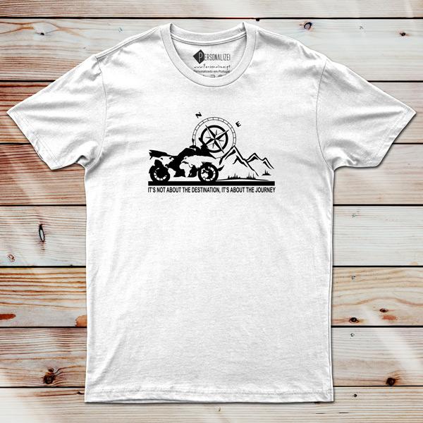 T-shirt BMW GS fãs moto It's not about the destination... comprar personalizada