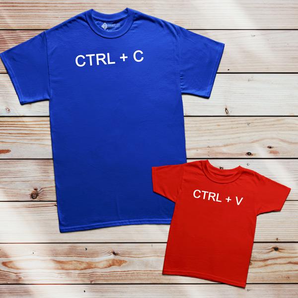 T-shirt Ctrl+C Ctrl+V Pai filho(a) Mãe e filho(a) conjuntos