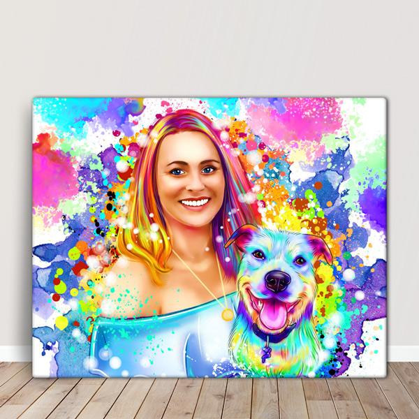 Sua foto em Ilustração colorida estilo aquarela com animal