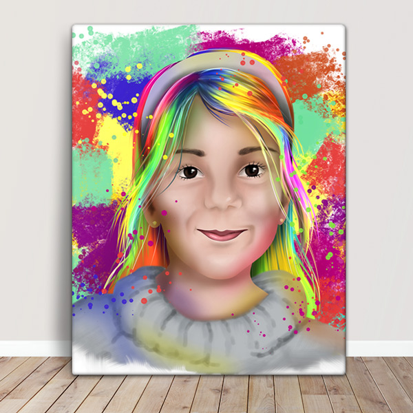 Sua foto em Ilustração colorida estilo aquarela em quadro