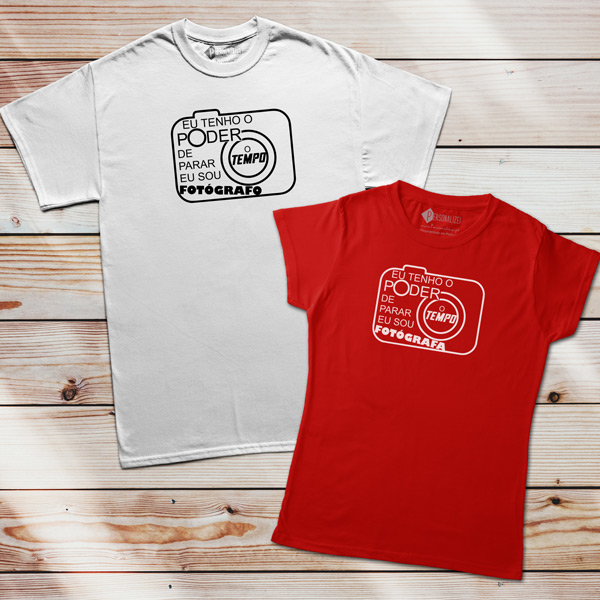 T-shirt Fotógrafo(a) Poder de parar o tempo homem e mulher