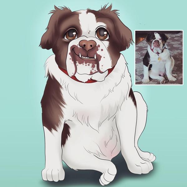 Seu PET em ilustração estilo Disney animal de estimação comprar em Portugal