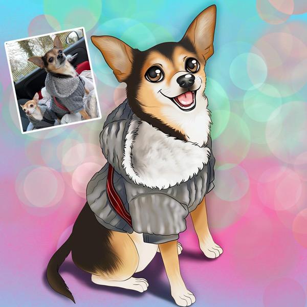 Seu PET em ilustração estilo Disney animal de estimação em quadro