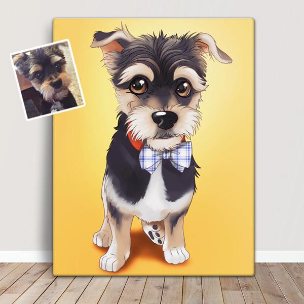 Seu PET em ilustração estilo Disney animal de estimação tranformado em quadro