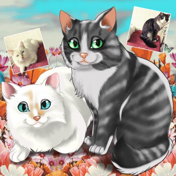 Seu PET em ilustração estilo Disney animal de estimação cats