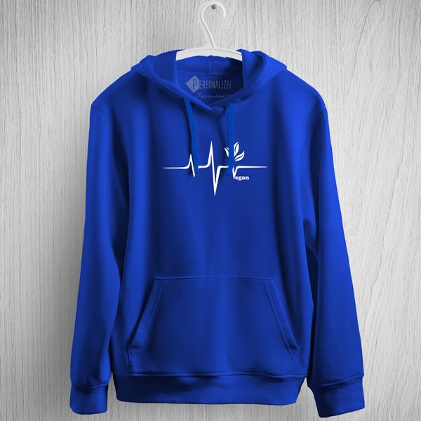 Sweatshirt com capuz Vegan heartbeat azul
