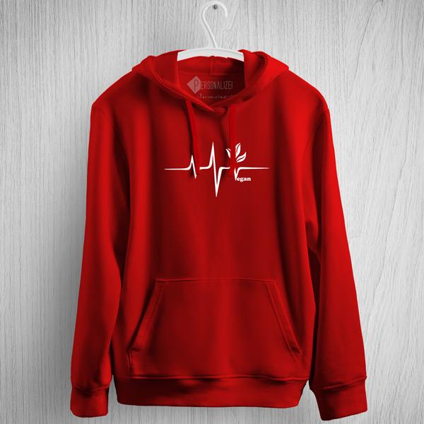 Sweatshirt com capuz Vegan heartbeat red
