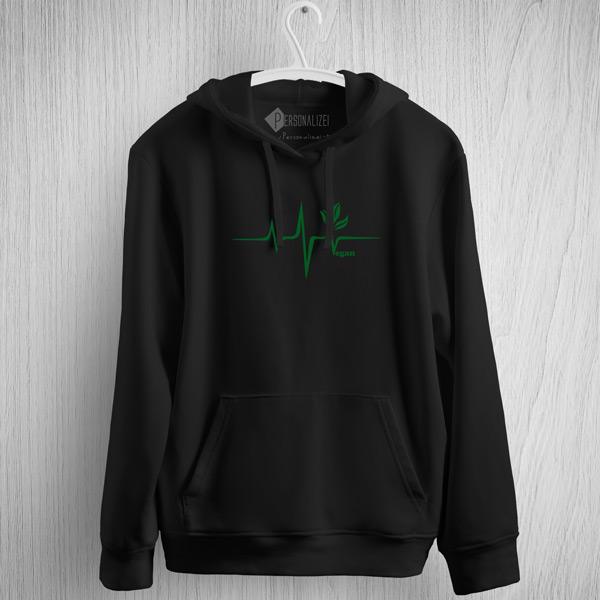 Sweatshirt com capuz Vegan heartbeat preto