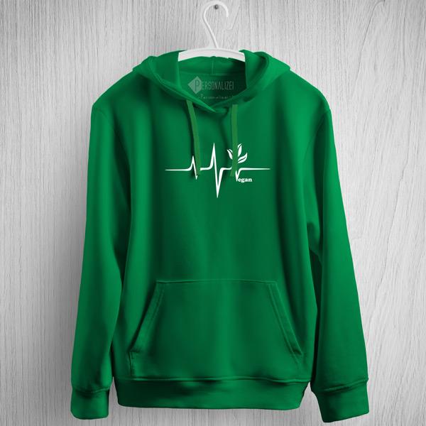 Sweatshirt com capuz Vegan heartbeat verde