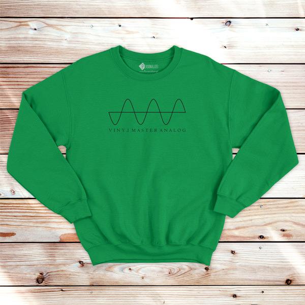 Analog Signal Vinyl Dj technics Sweatshirt unisex verde