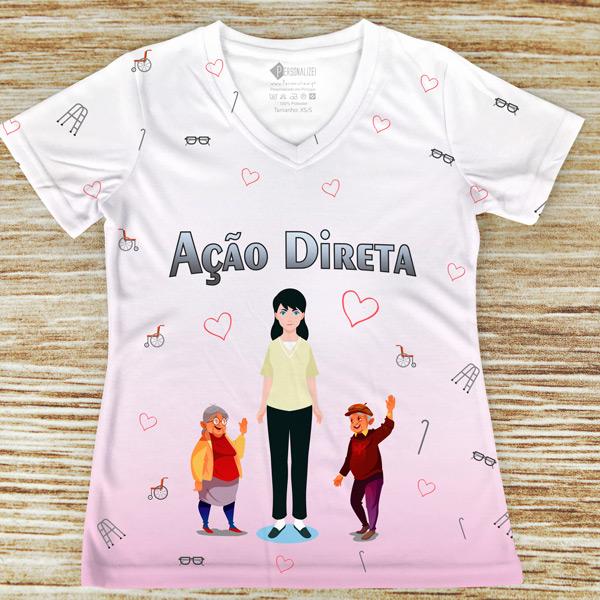 T-shirt Ação Direta profissão/curso rosa