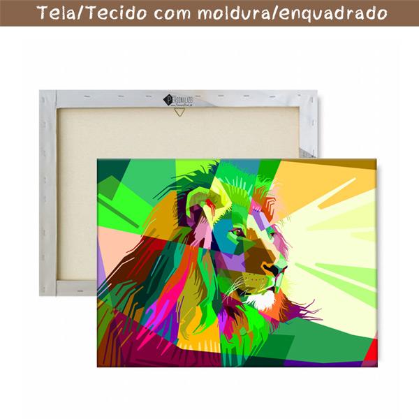 Colorful Lion Quadro/Tela com moldura