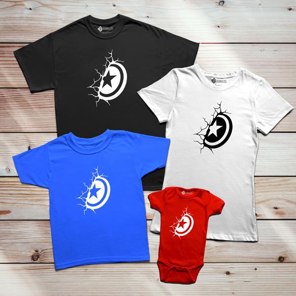 Capitão América T-shirt Escudo família