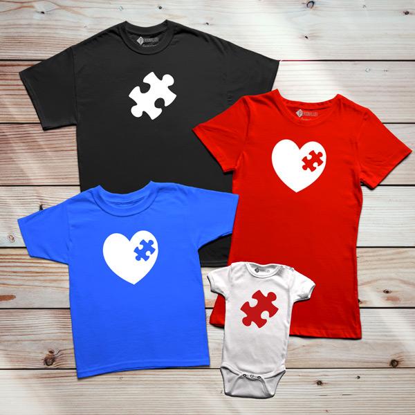 T-shirt Peça que faltava no meu coração conjunto família