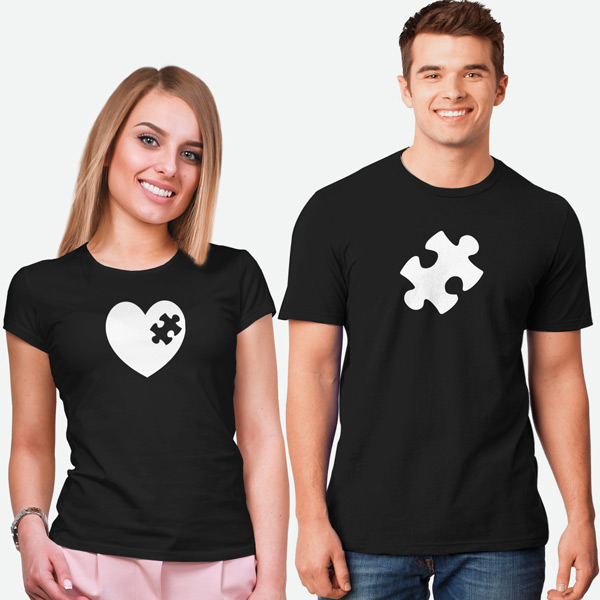 T-shirt Peça que faltava no meu coração conjunto namorados