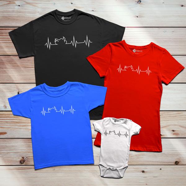 T-shirt Heartbeat Mota família
