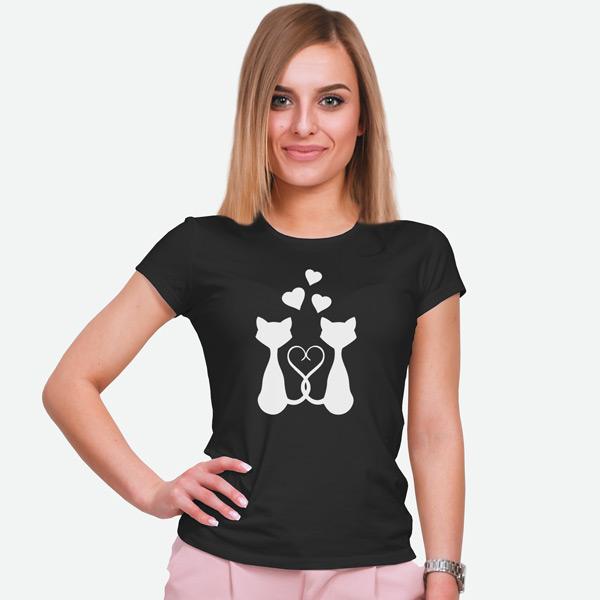 T-shirt Love Cats preta