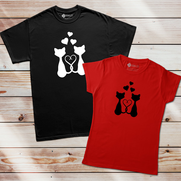 T-shirt Love Cats homem e mulher