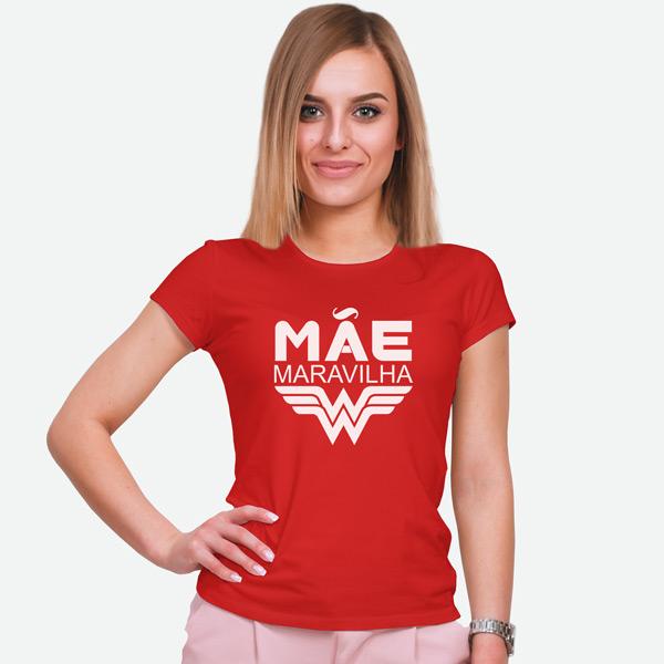 T-shirt Mãe Maravilha vermelha