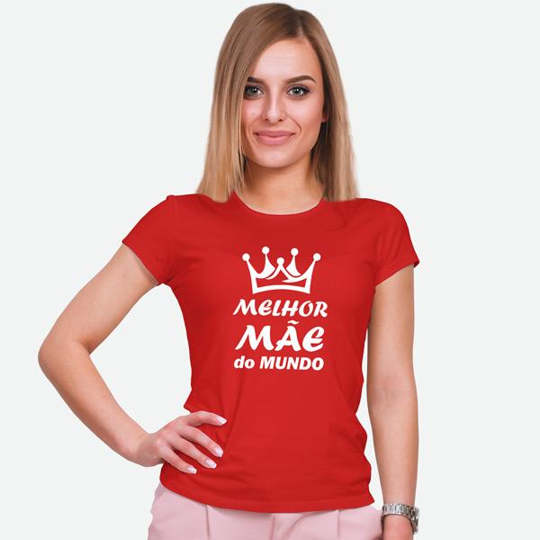 T-shirt Melhor Mãe do Mundo vermelha