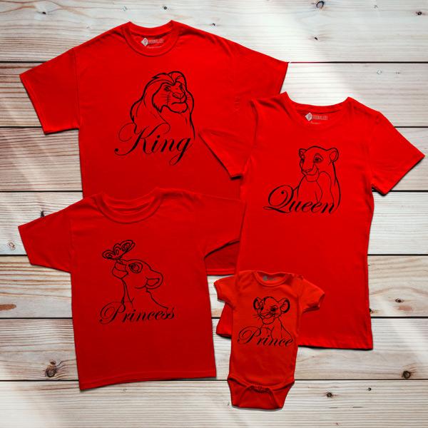 T-shirts Rei Leão Família King Queen Prince Princess vermelho