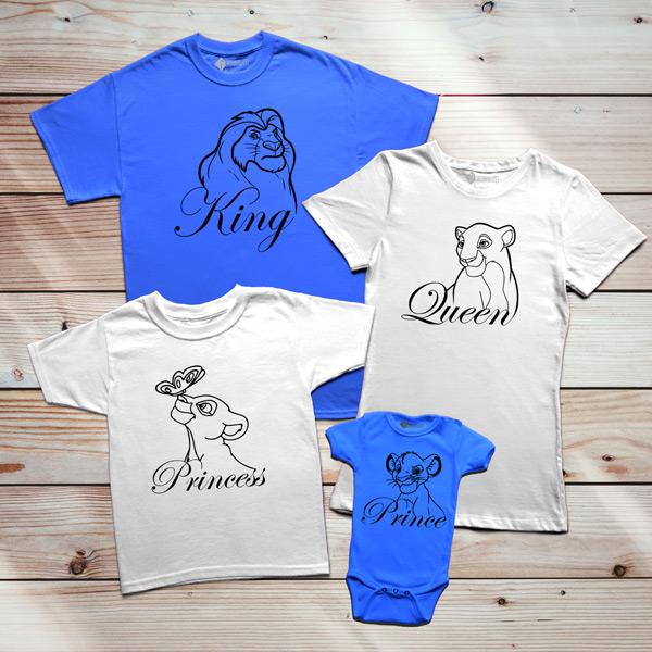 T-shirts Rei Leão Família King Queen Prince Princess preço