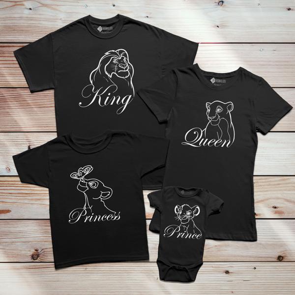 T-shirts Rei Leão Família King Queen Prince Princess