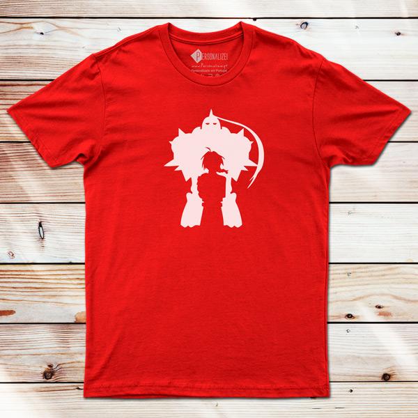 Edward e Alphonse T-shirt Fullmetal Alchemist vermelha