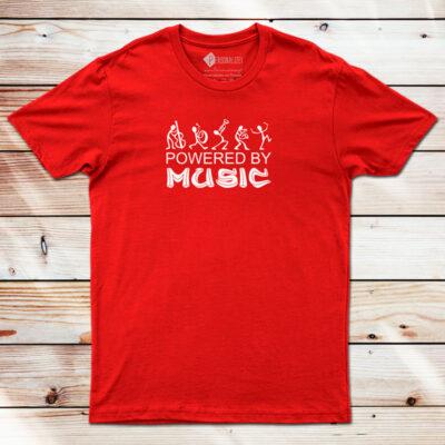 T-shirt Powered By Music vermelha