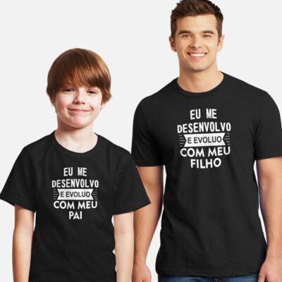 T-shirt Eu me desenvolvo e evoluo conjunto pai e filho(a) comprar