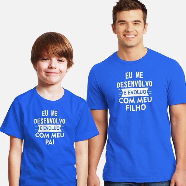T-shirt Eu me desenvolvo e evoluo conjunto pai e filho(a) azul