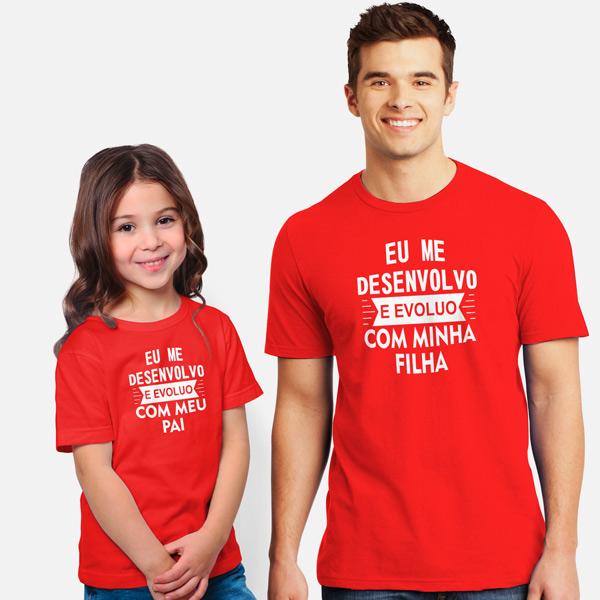 T-shirt Eu me desenvolvo e evoluo conjunto pai e filho(a) em Portugal