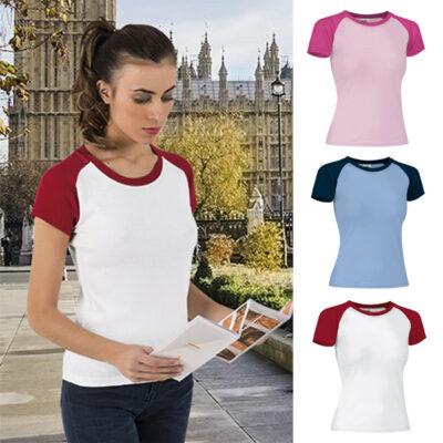 T-shirt Raglan malha canelada 200g em 2 cores mulher comprar