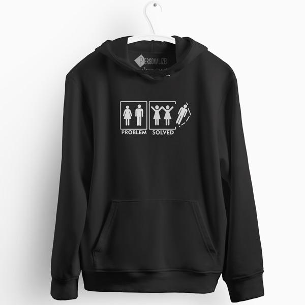 Lesbian Problem Solved Sweatshirt com capuz preto