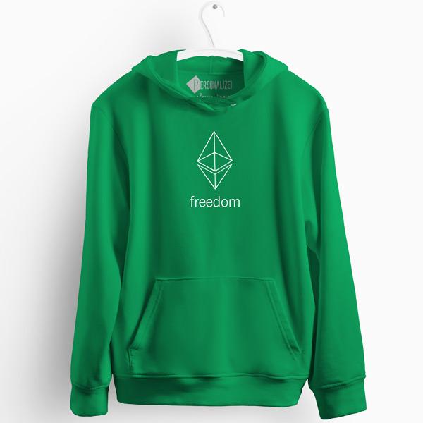 Sweatshirt com capuz Ethereum Freedom verde