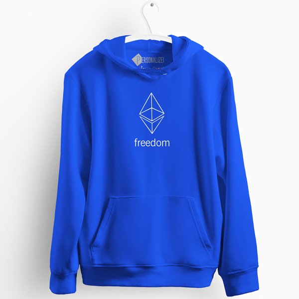 Sweatshirt com capuz Ethereum Freedom azul
