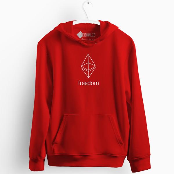 Sweatshirt com capuz Ethereum Freedom vermelho