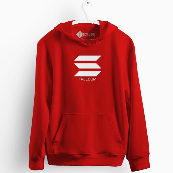 Sweatshirt com capuz Solana Freedom vermelho