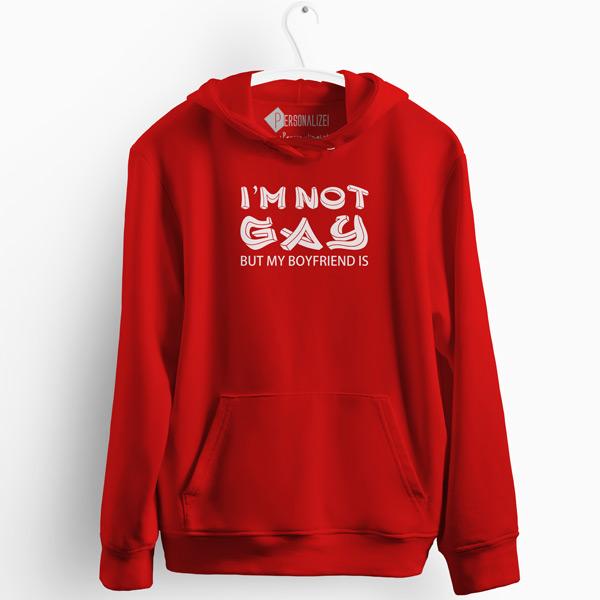 I'm not gay but my boyfriend is Sweatshirt com capuz vermelho