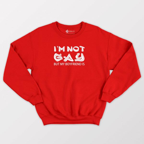 Sweatshirt I'm not gay but my boyfriend is Vermelho