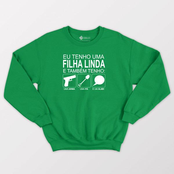 Sweatshirt Tenho uma filha linda verde